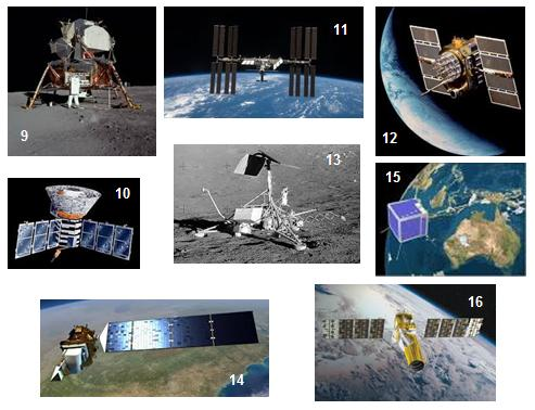 Write Down The Name Of Satellites Or Spacecraft Shown Below Against Their Number